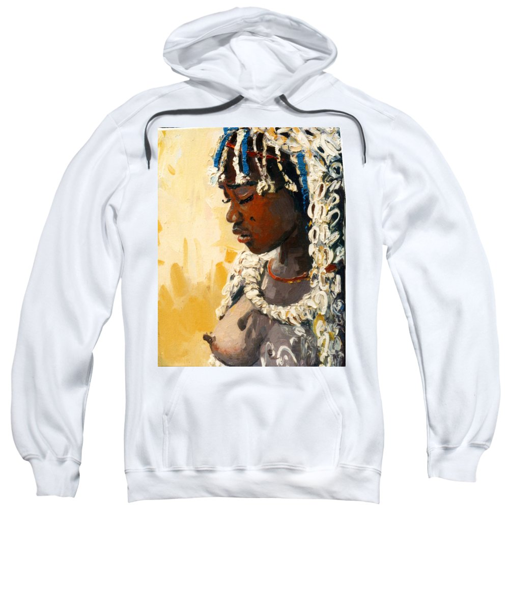 Portrait Sweatshirt featuring the painting Africa 2 by Sefedin Stafa