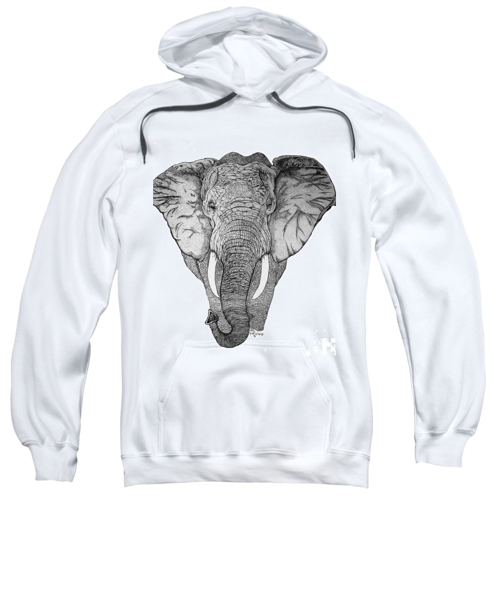 Elephant African Nature Wildlife Animal Elephants Animals Pen And Ink Elephant Sweatshirt featuring the drawing African Elephant by Nick Gustafson