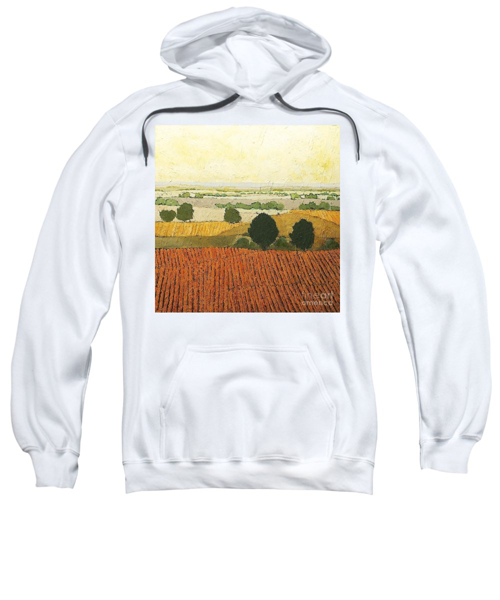Landscape Sweatshirt featuring the painting After Harvest by Allan P Friedlander