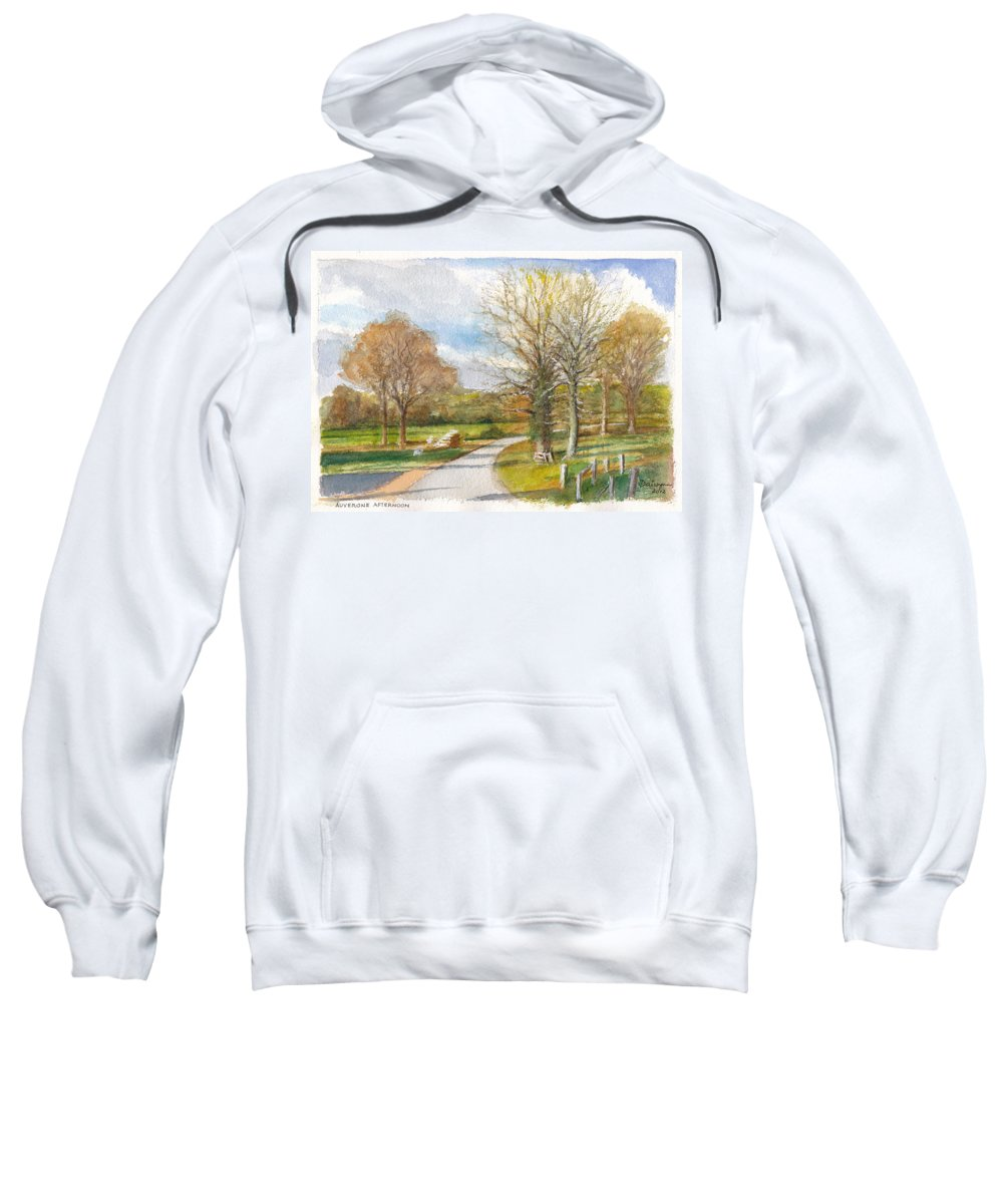 France Sweatshirt featuring the painting Afternoon In The Auvergne Countryside In Central France by Dai Wynn