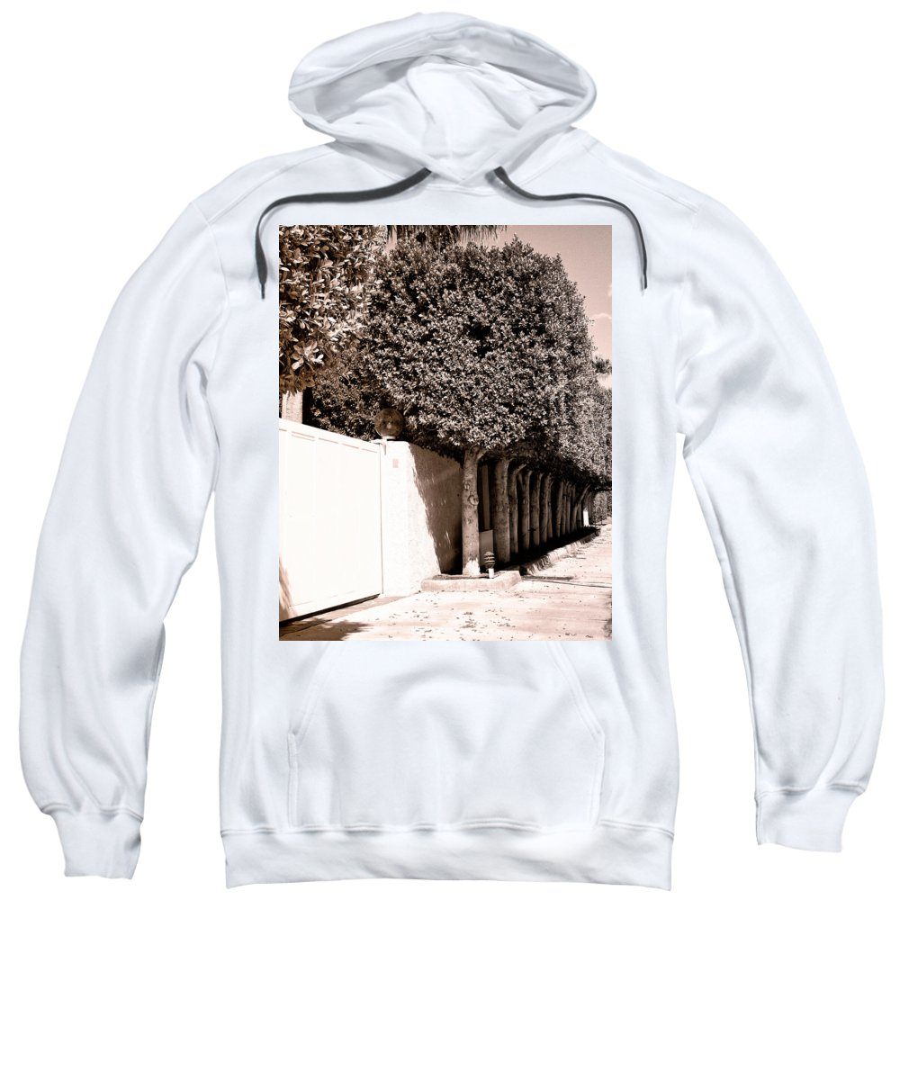 Movie Colony Homes Sweatshirt featuring the photograph Afternoon Sun Bw Palm Springs by William Dey
