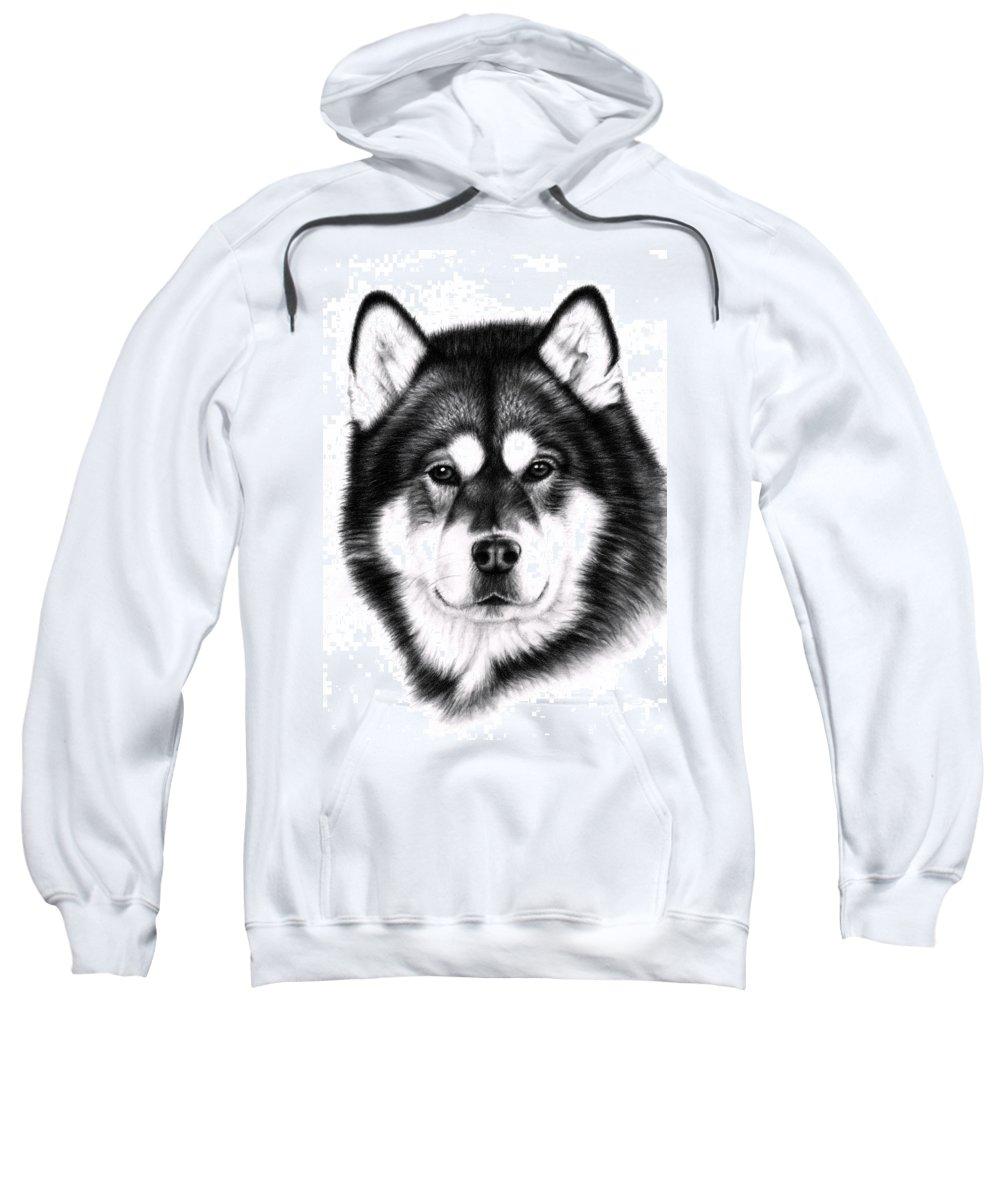 Dog Sweatshirt featuring the drawing Alaskan Malamute Portrait by Nicole Zeug