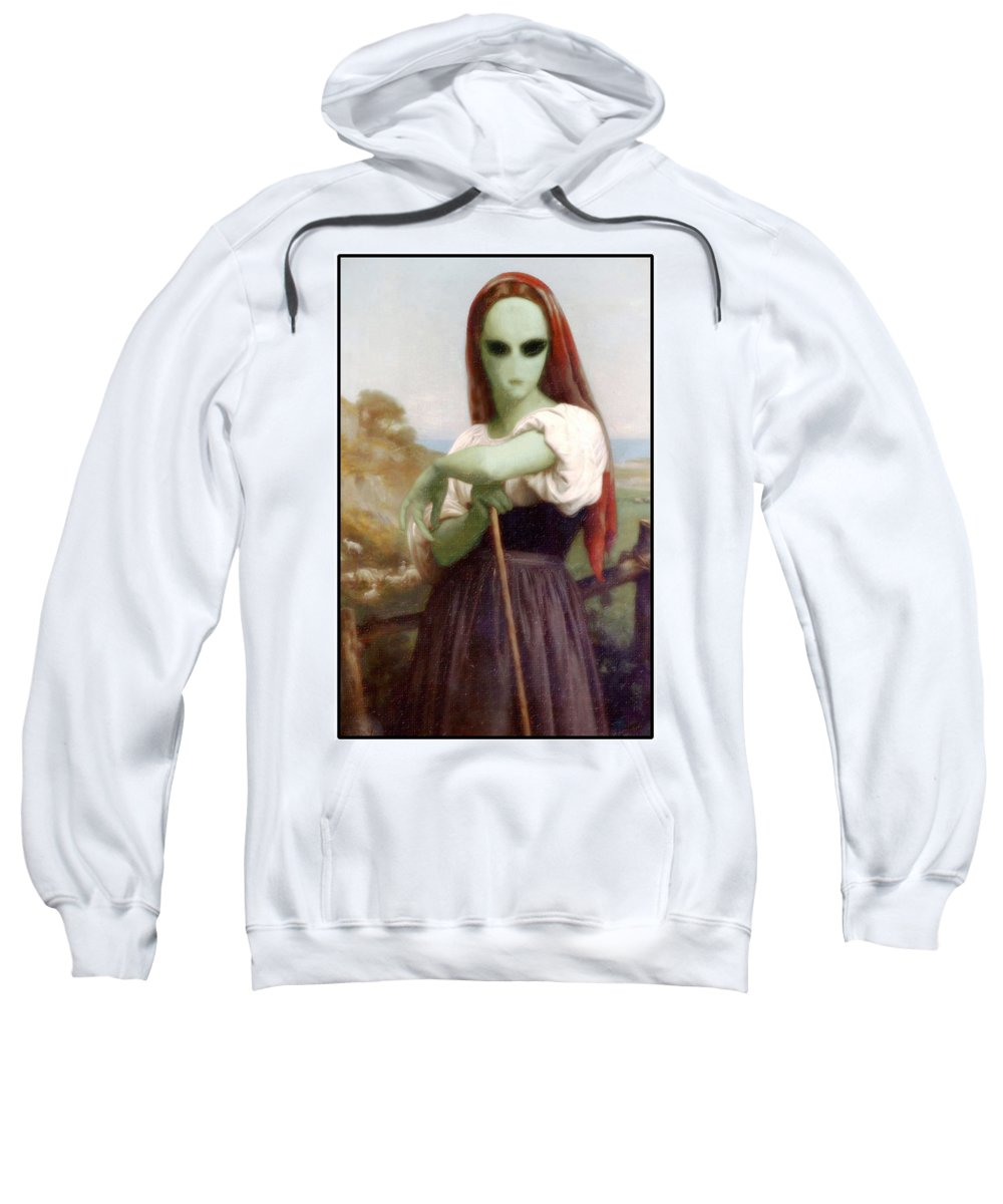 Bouguereau Sweatshirt featuring the painting Alien Shepherdess by Gravityx9 Designs