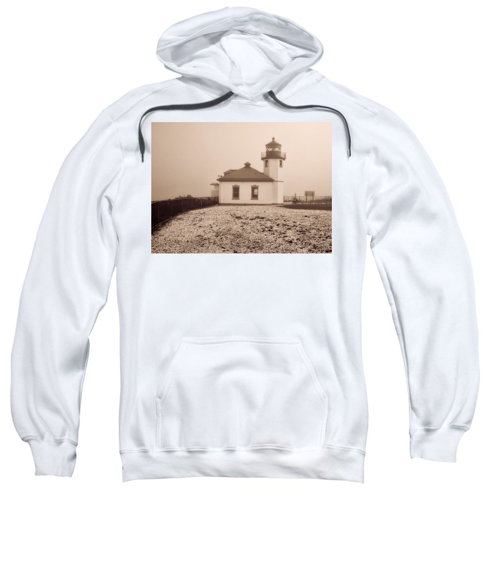Sweatshirt featuring the photograph Alki Point Lighthouse by Cathy Anderson