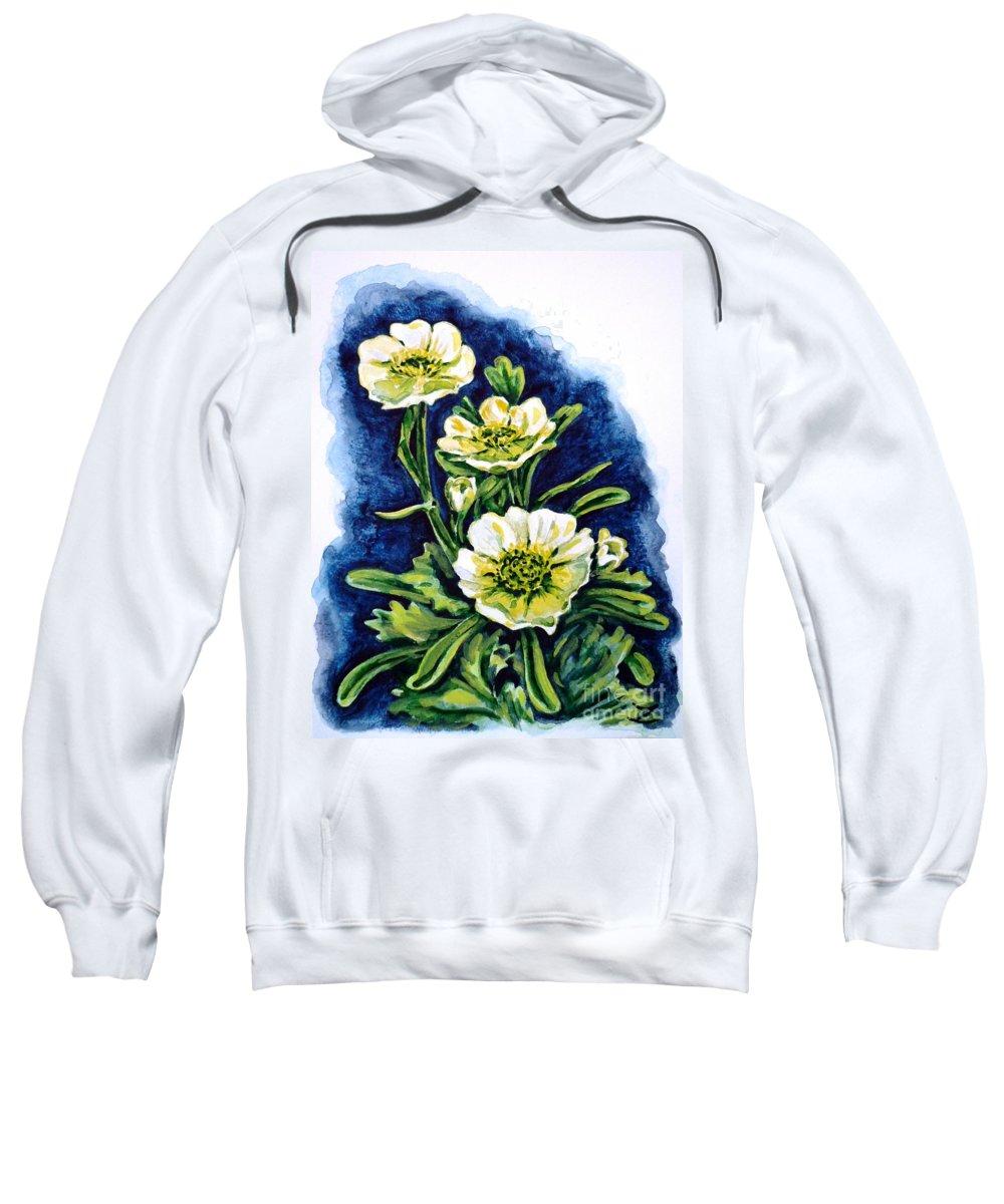 Alpine Ranunculus Sweatshirt featuring the painting Alpine Ranunculus by Zaira Dzhaubaeva