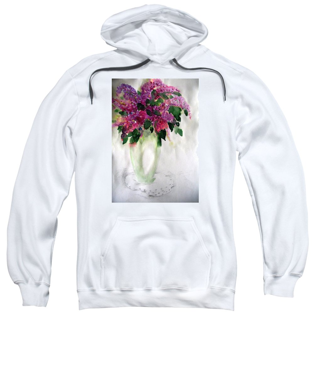 Lilacs Sweatshirt featuring the painting Alyvos - Lilacs by Hedwig Pen
