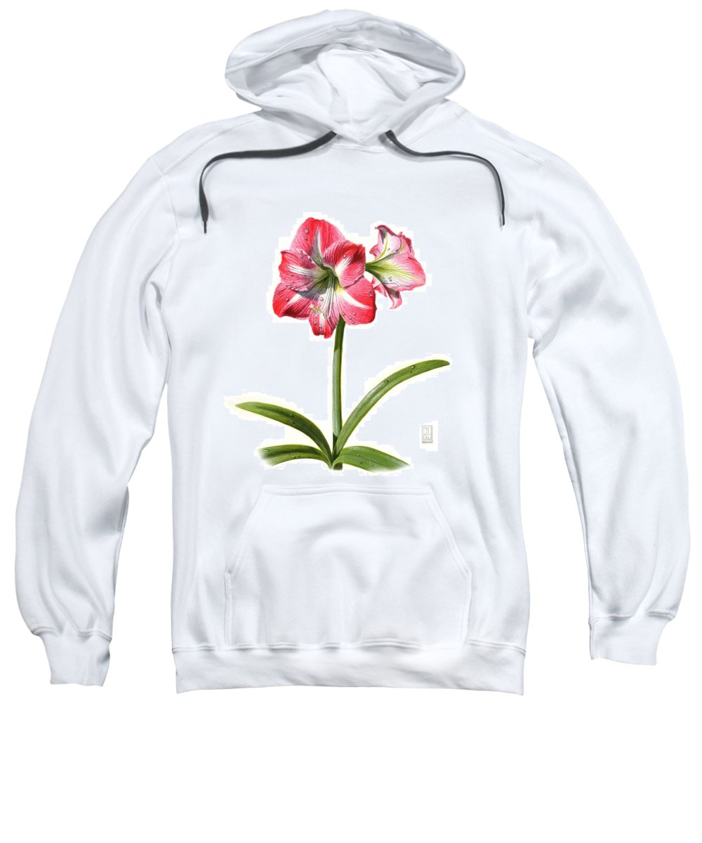 Amaryllis Sweatshirt featuring the painting Amaryllis by Richard Harpum