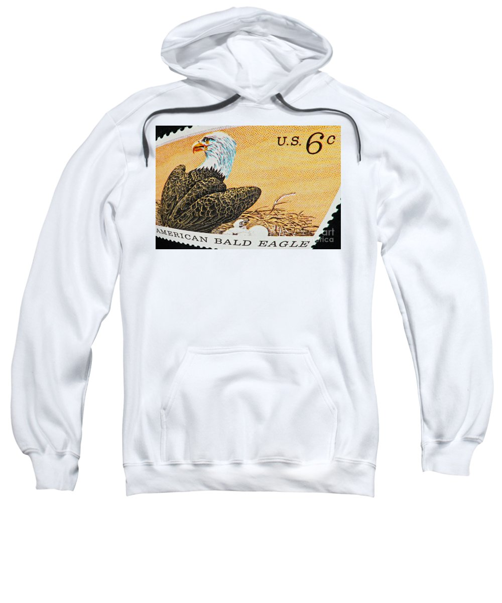 Home Decor Sweatshirt featuring the photograph American Bald Eagle Vintage Postage Stamp Print by Andy Prendy