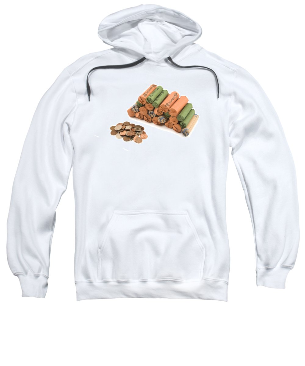 Coin Roll Sweatshirt featuring the photograph American Coins On White Background by Keith Webber Jr