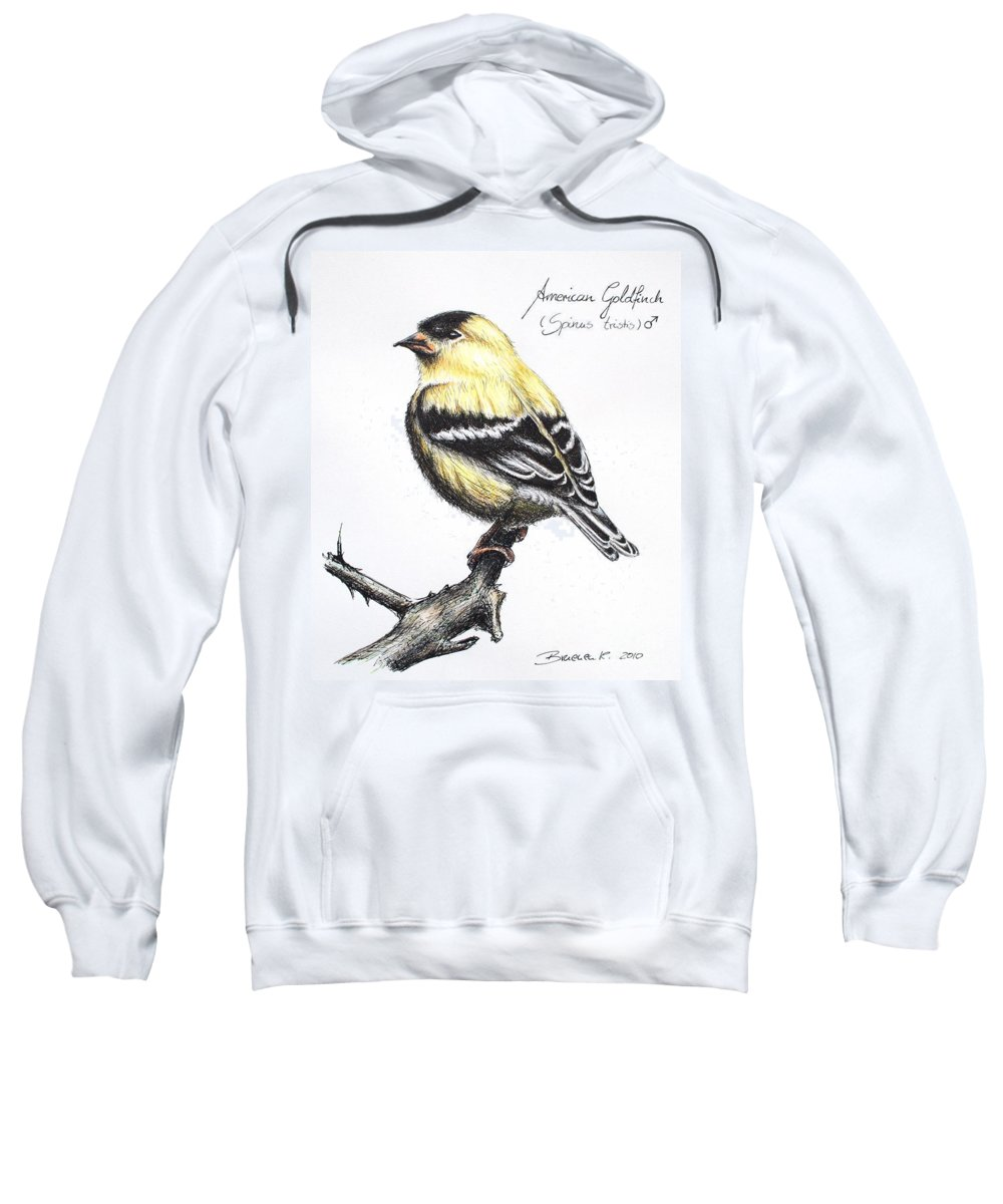 American Goldfinch Sweatshirt featuring the drawing American Goldfinch by Katharina Filus