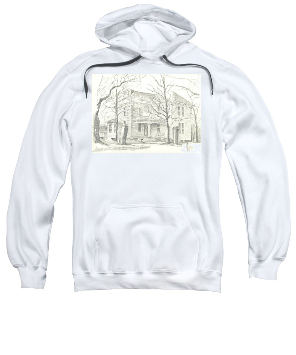 American Home Ii Sweatshirt featuring the drawing American Home II by Kip DeVore