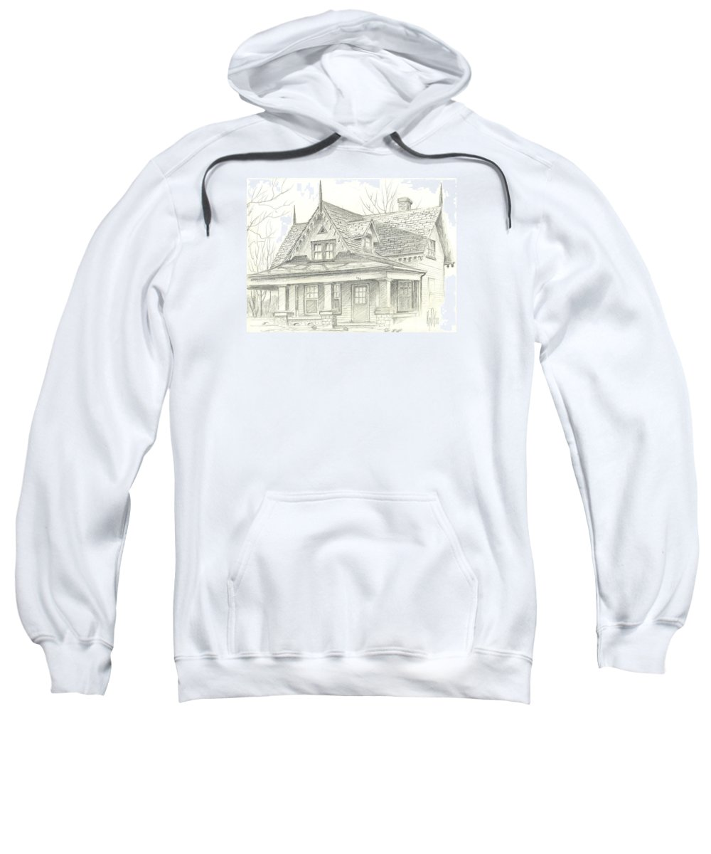 American Home Sweatshirt featuring the drawing American Home by Kip DeVore