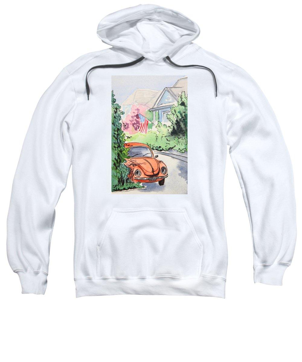 Volkswagen Beetle Sweatshirt featuring the painting American Town by Masha Batkova
