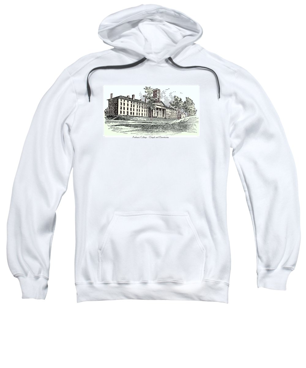 Amherst Sweatshirt featuring the digital art Amherst College - Chapel And Dormitories by John Madison