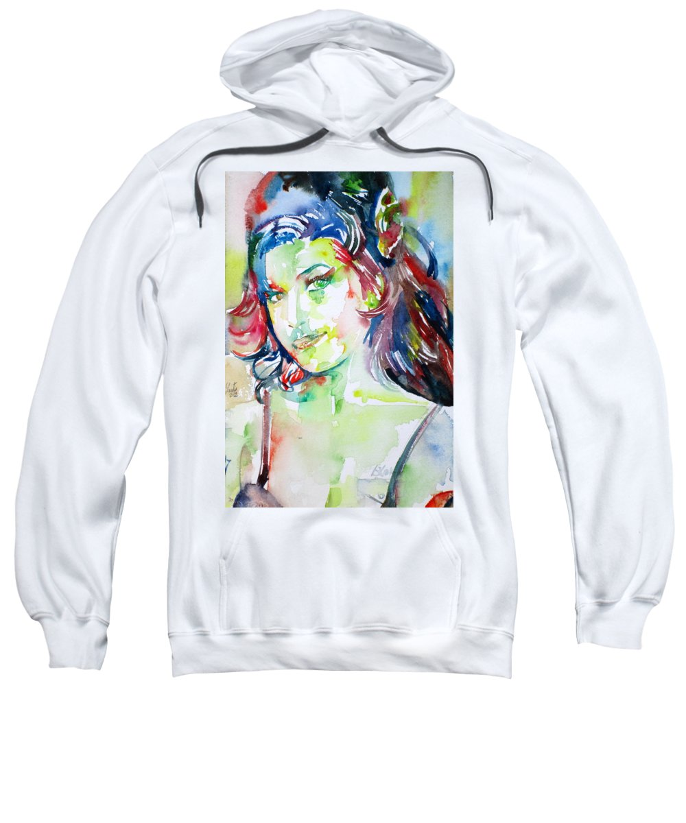 Amy Winehouse Sweatshirt featuring the painting Amy Winehouse Watercolor Portrait.1 by Fabrizio Cassetta