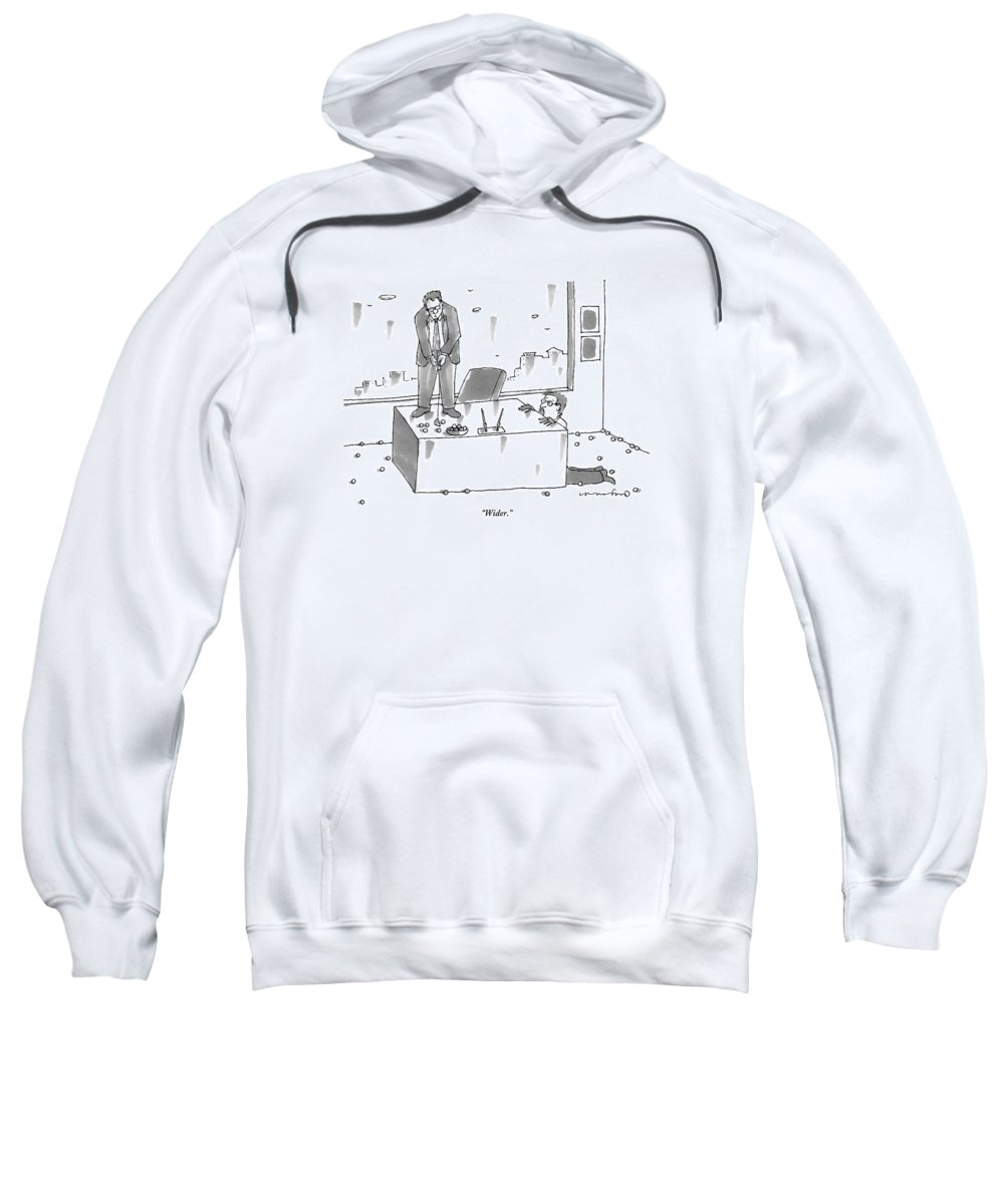 Executives Sweatshirt featuring the drawing An Executive Putts Golf Balls From His Desk by Michael Crawford