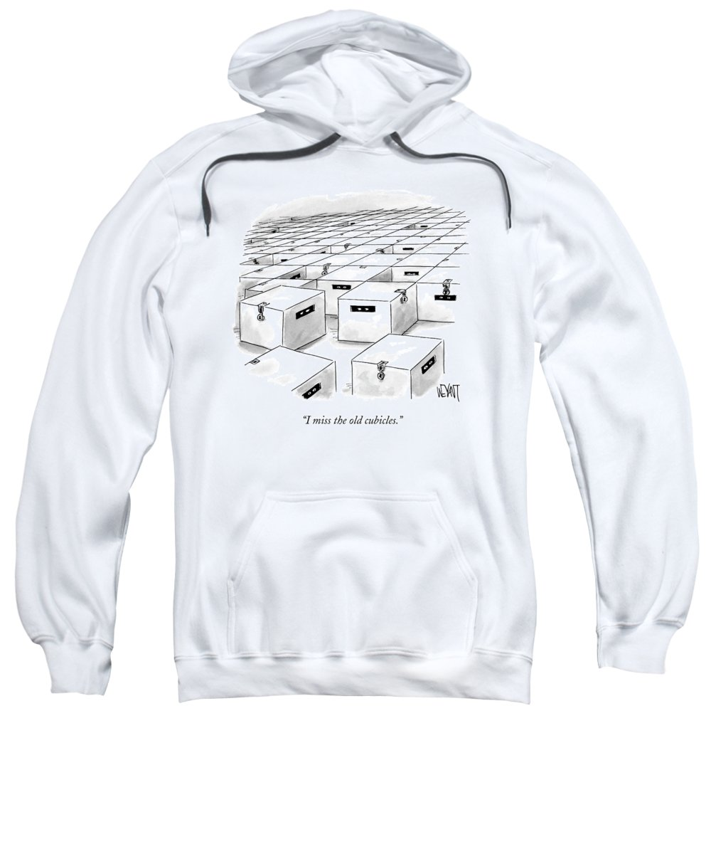 Office Sweatshirt featuring the drawing An Office Full Of Locked Boxes With Eyes Looking by Christopher Weyant