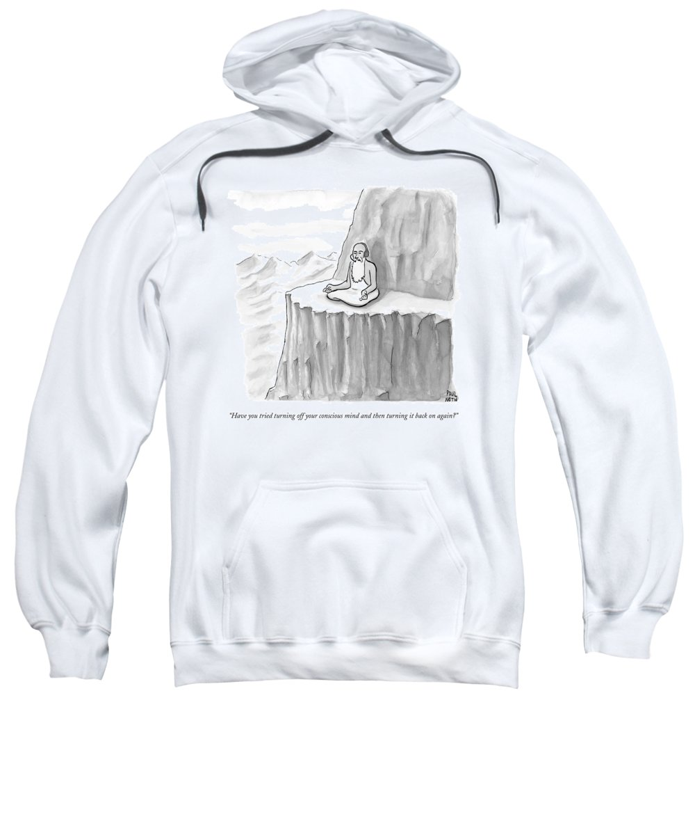 Meditating Sweatshirt featuring the drawing An Old Man Gives Metaphysical Advice by Paul Noth