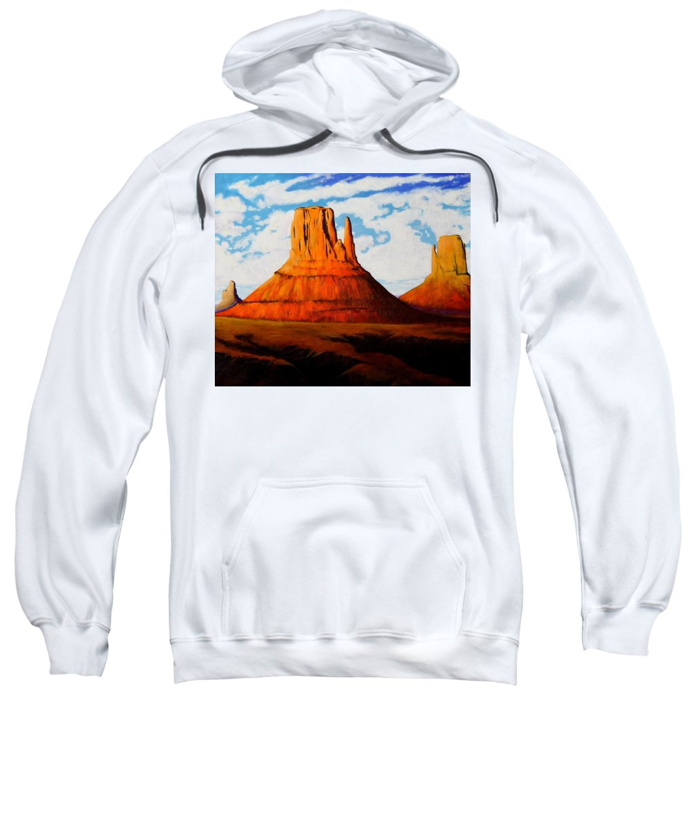 Landscape Of Western Usa Sweatshirt featuring the painting Ancient Land Monument Valley by Joe Triano