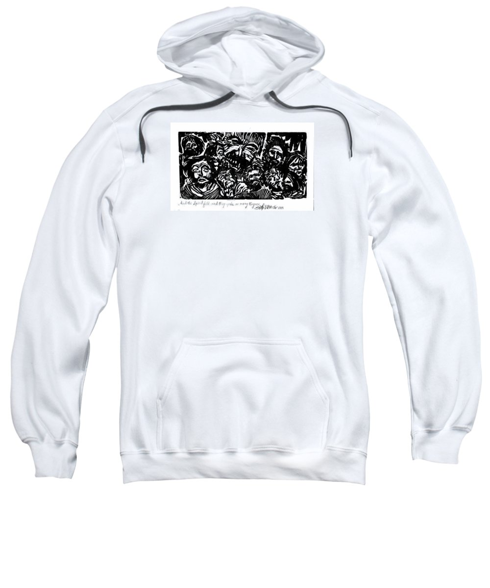 And The Spirit Fell Sweatshirt featuring the relief And The Spirit Fell by Seth Weaver