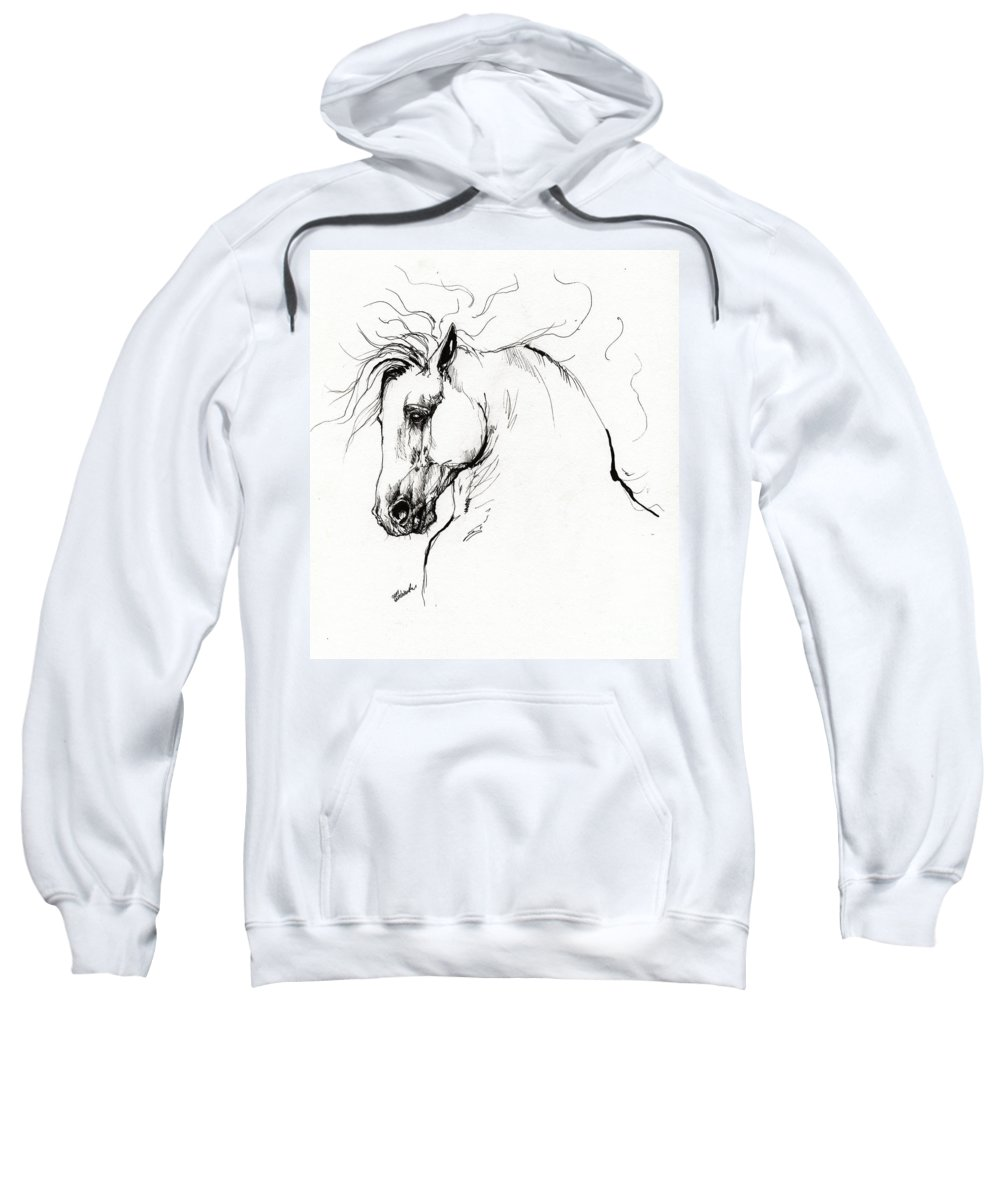 Horse Sweatshirt featuring the drawing Andalusian Horse Drawing 1 by Angel Ciesniarska
