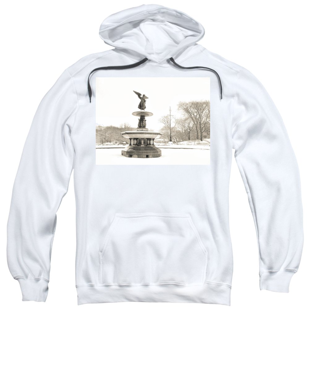 Central Park Sweatshirt featuring the photograph Angel Of The Waters - Central Park - Winter by Vivienne Gucwa