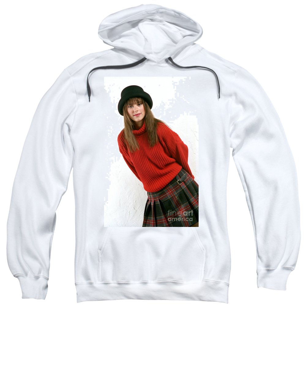 Woman Sweatshirt featuring the photograph Angela Plaid Skirt by Gary Gingrich Galleries