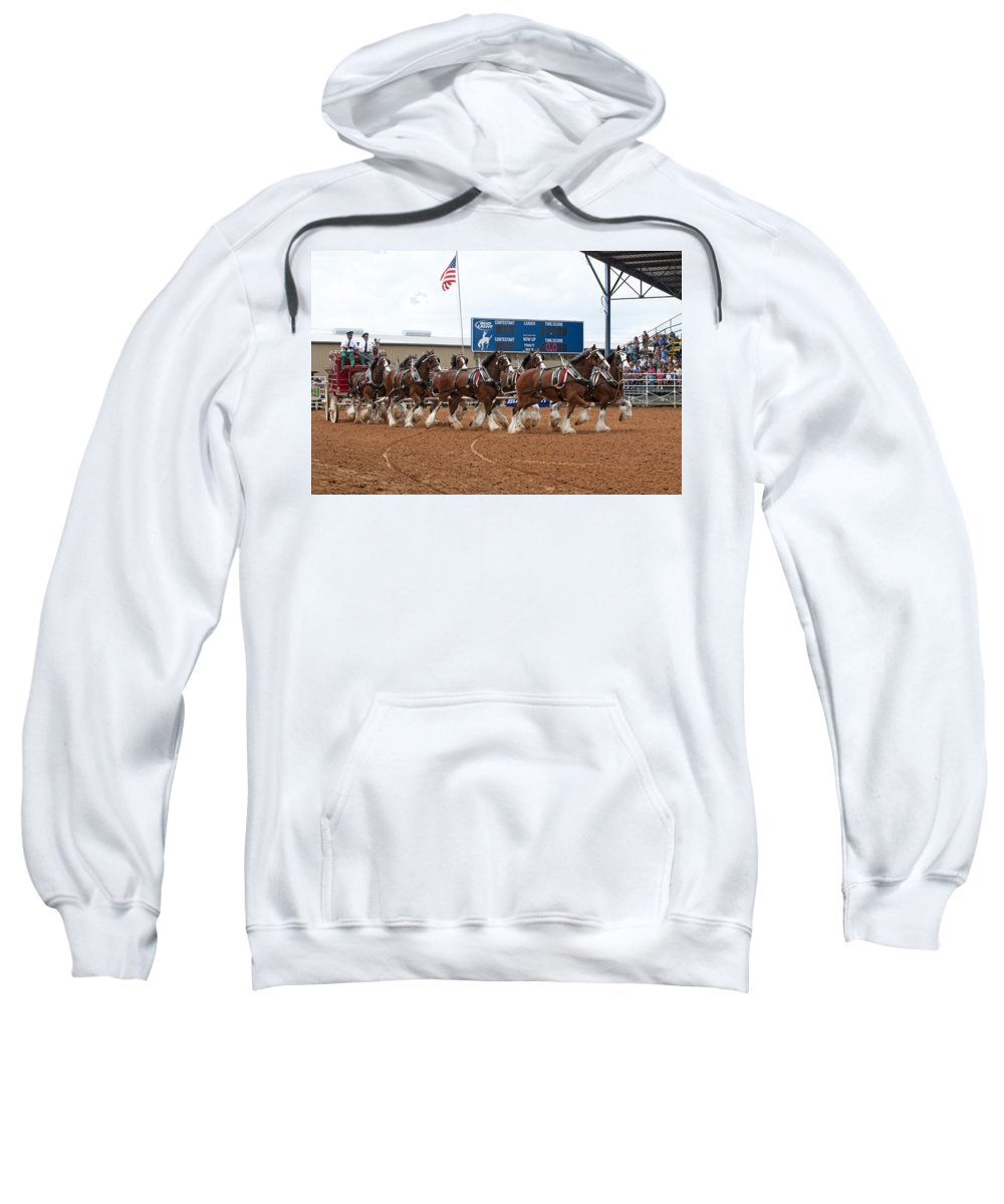 Eight Sweatshirt featuring the photograph Anheuser Busch Clydesdales Pulling A Beer Wagon Usa Rodeo by Sally Rockefeller