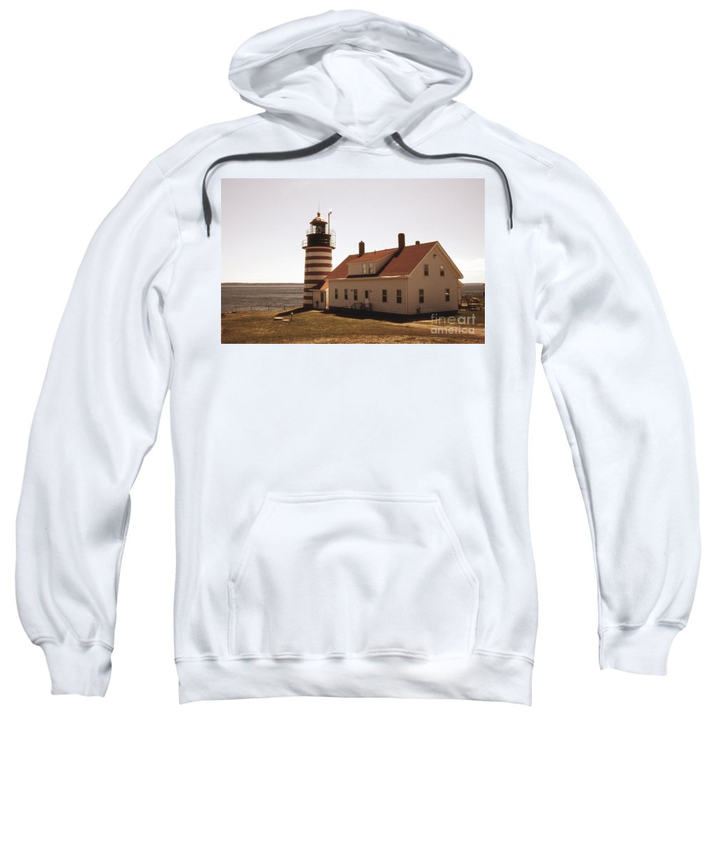 Lighthouses Sweatshirt featuring the photograph Antique West Quoddy Lighthouse by Skip Willits