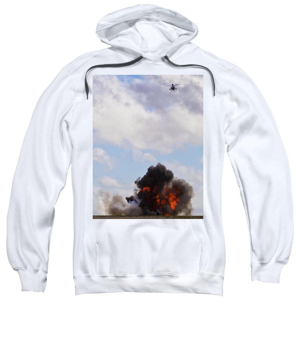 Apache Sweatshirt featuring the photograph Apache Fire Power by Maj Seda