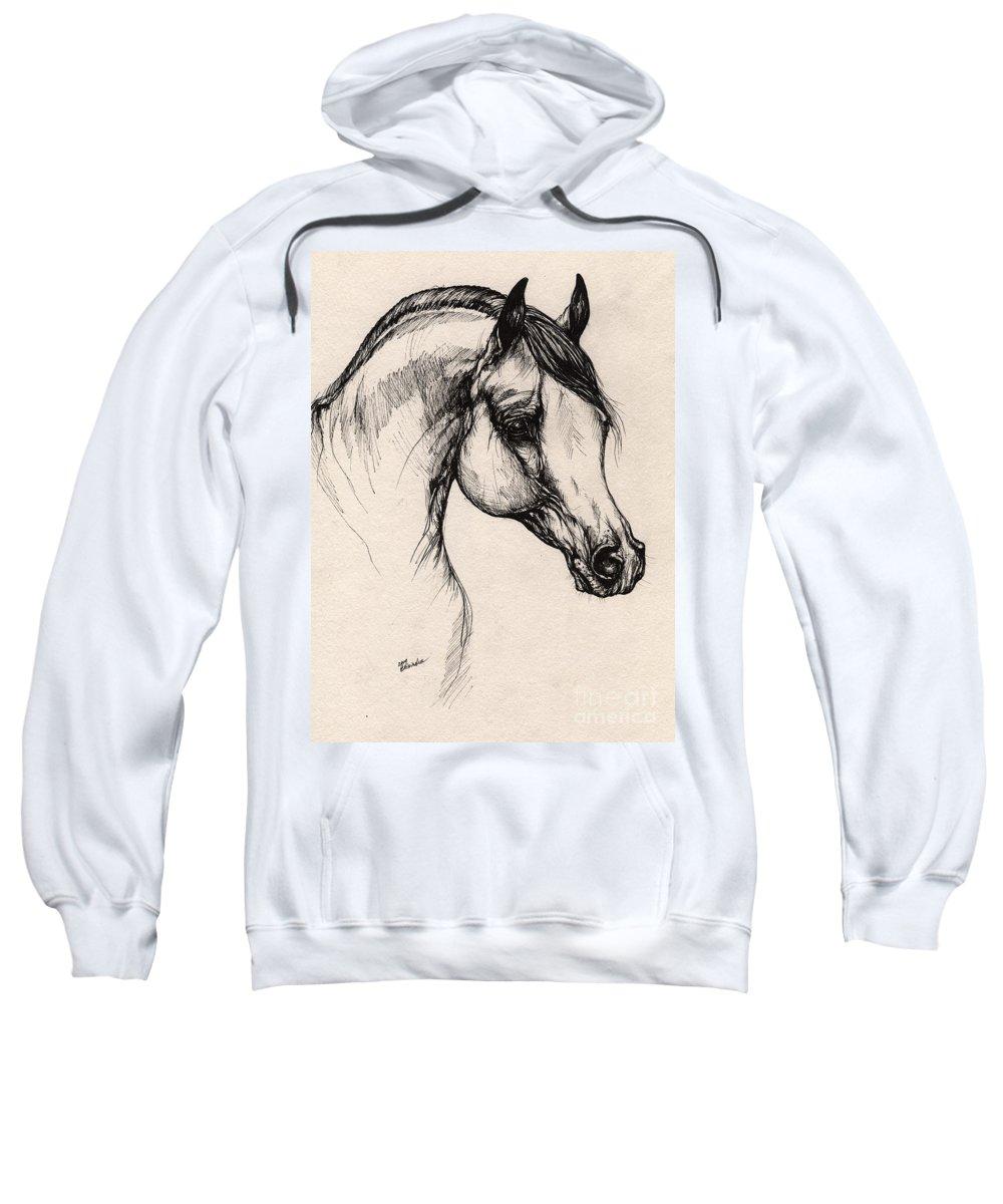 Horse Sweatshirt featuring the drawing Arabian Horse Drawing 24 by Angel Tarantella