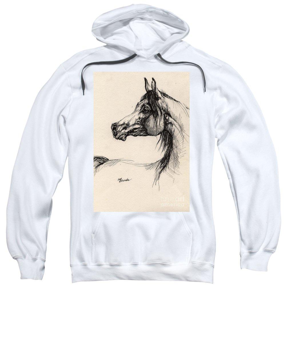 Horse Drawing Sweatshirt featuring the drawing Arabian Horse Drawing 26 by Angel Tarantella