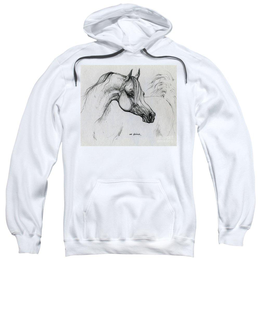 Horse Sweatshirt featuring the drawing Arabian Horse Drawing 28 by Angel Tarantella