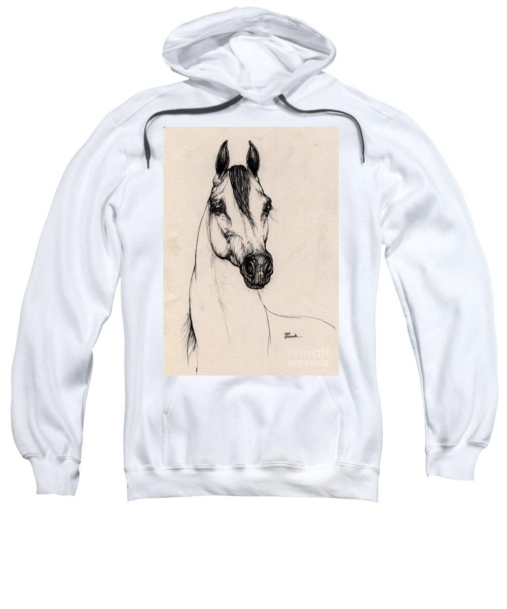 Arabian Horse Sweatshirt featuring the drawing Arabian Horse Drawing 29 by Angel Ciesniarska