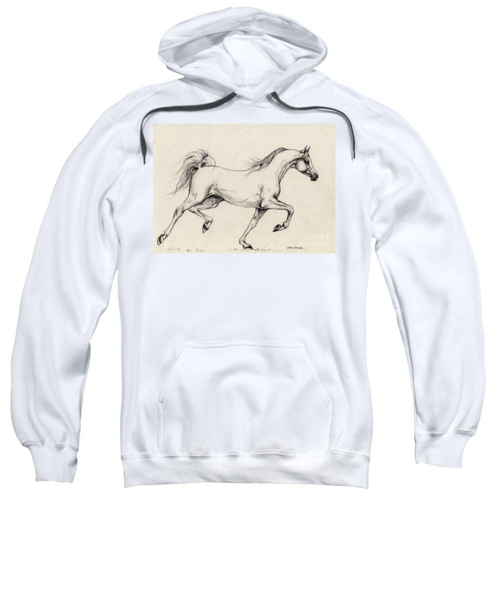 Grey Sweatshirt featuring the drawing Arabian Horse Drawing 31 by Angel Tarantella