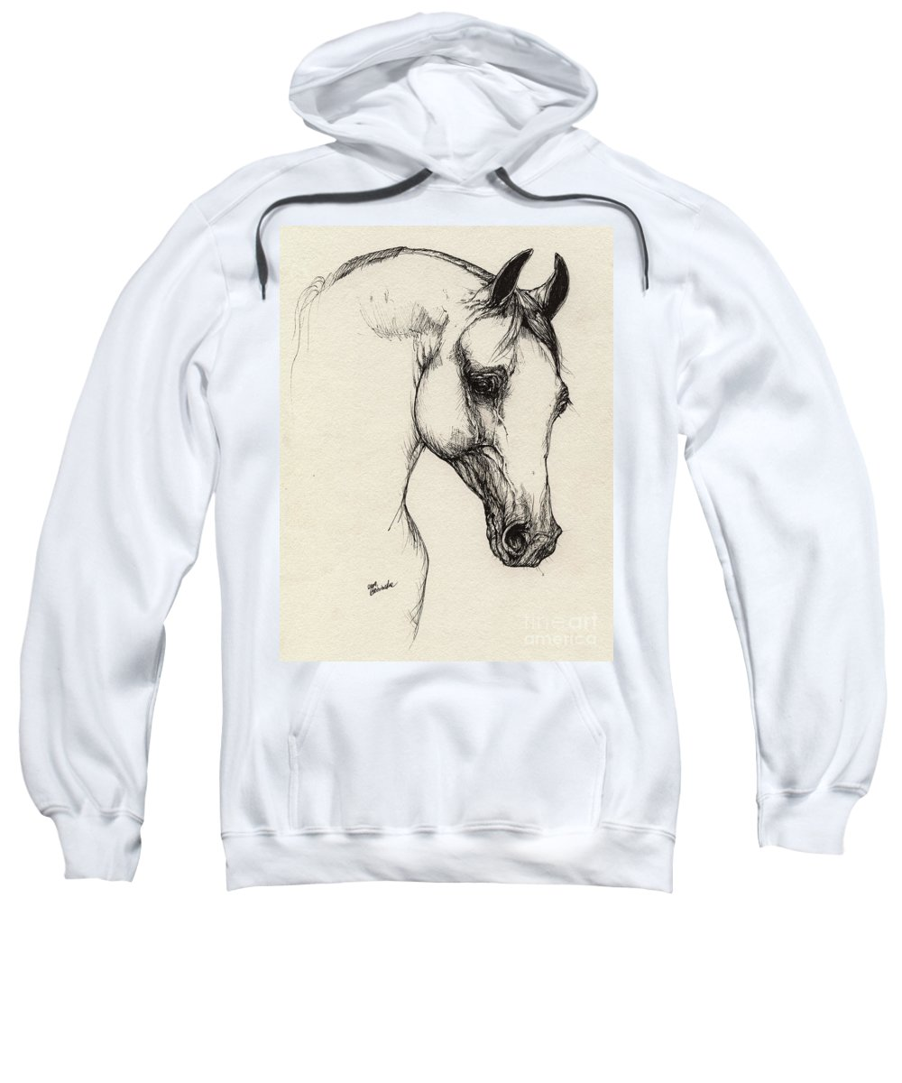 Horse Sweatshirt featuring the drawing Arabian Horse Drawing 32 by Angel Ciesniarska