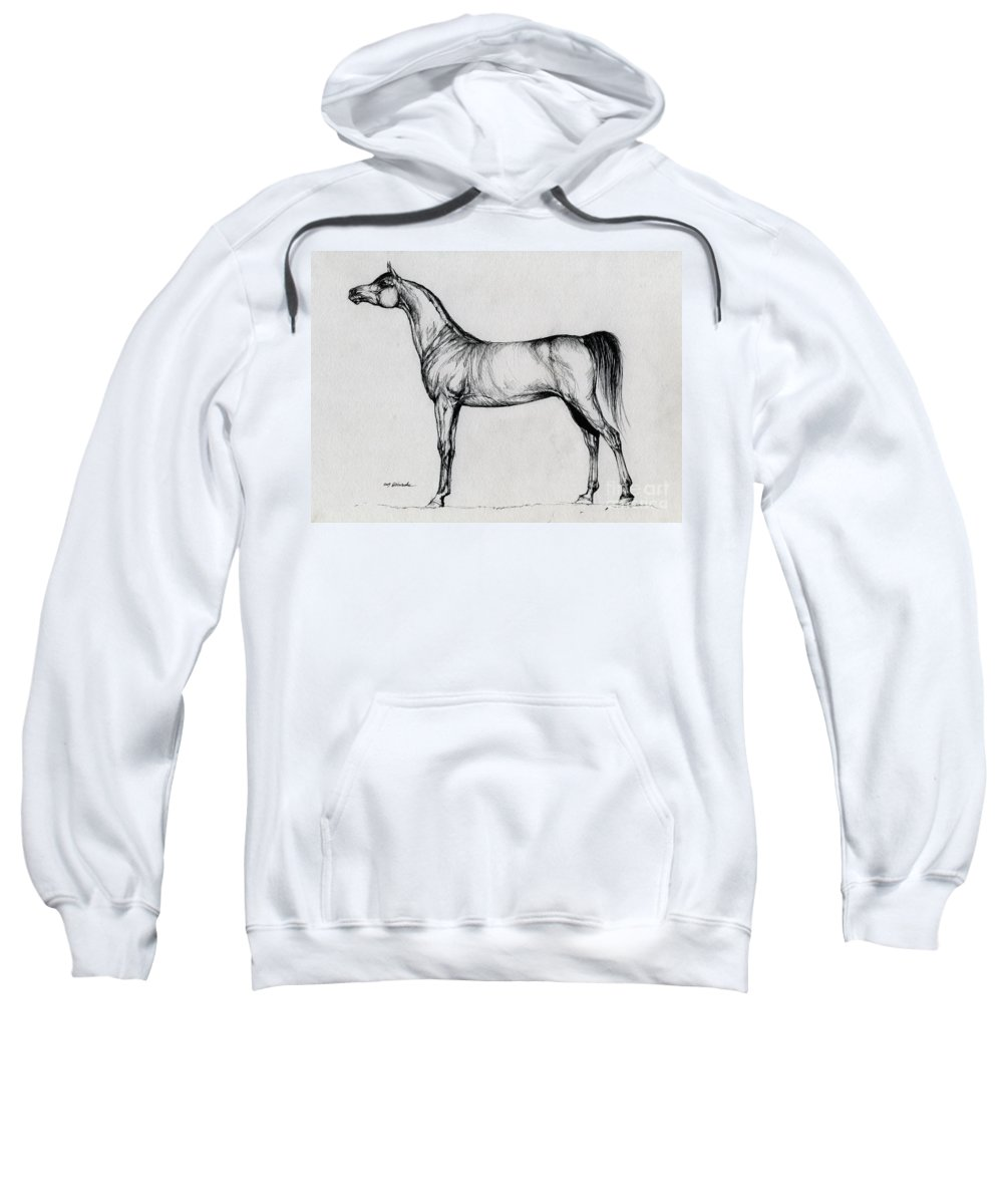 Arab Sweatshirt featuring the drawing Arabian Horse Drawing 34 by Angel Ciesniarska