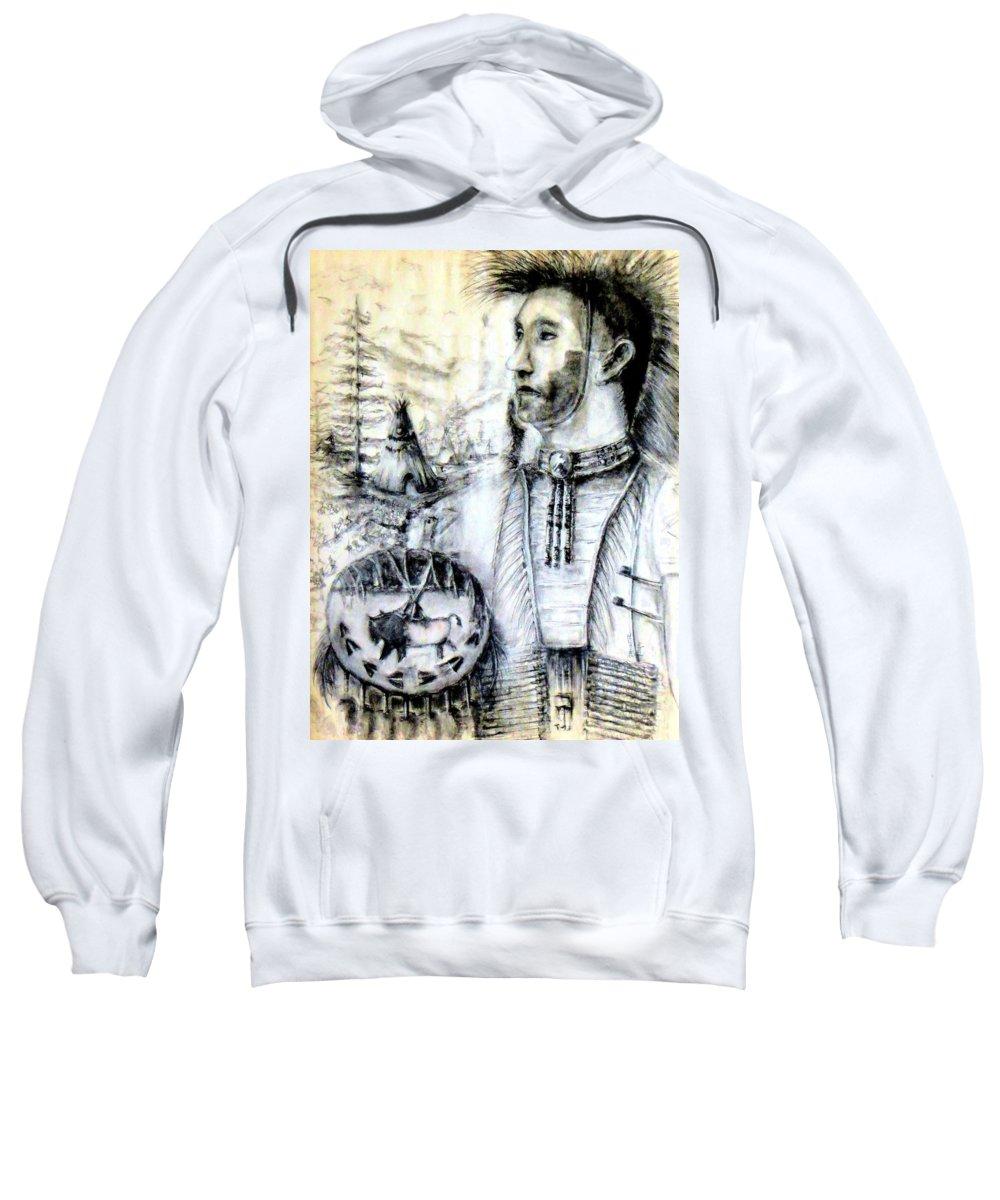 Arapaho Cheyenne Sweatshirt featuring the painting Arapaho Cheyenne by Bernadette Krupa