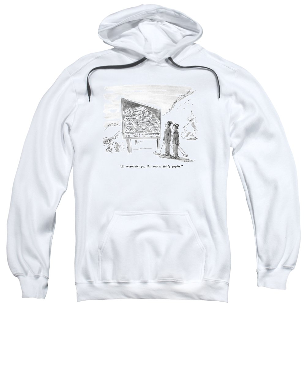 Modern Life Sweatshirt featuring the drawing As Mountains Go by James Stevenson