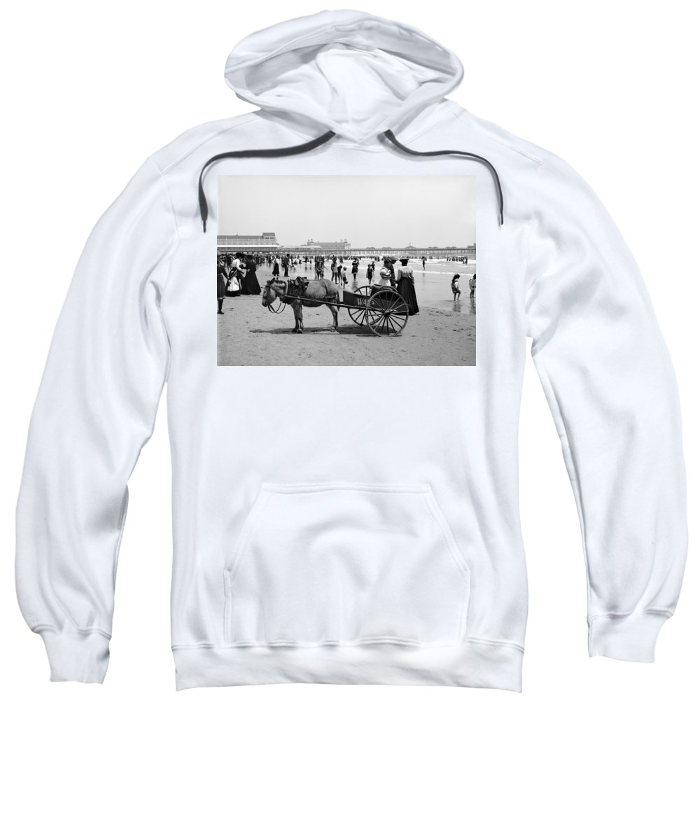 1890 Sweatshirt featuring the photograph Atlantic City Beach, C1901 by Granger