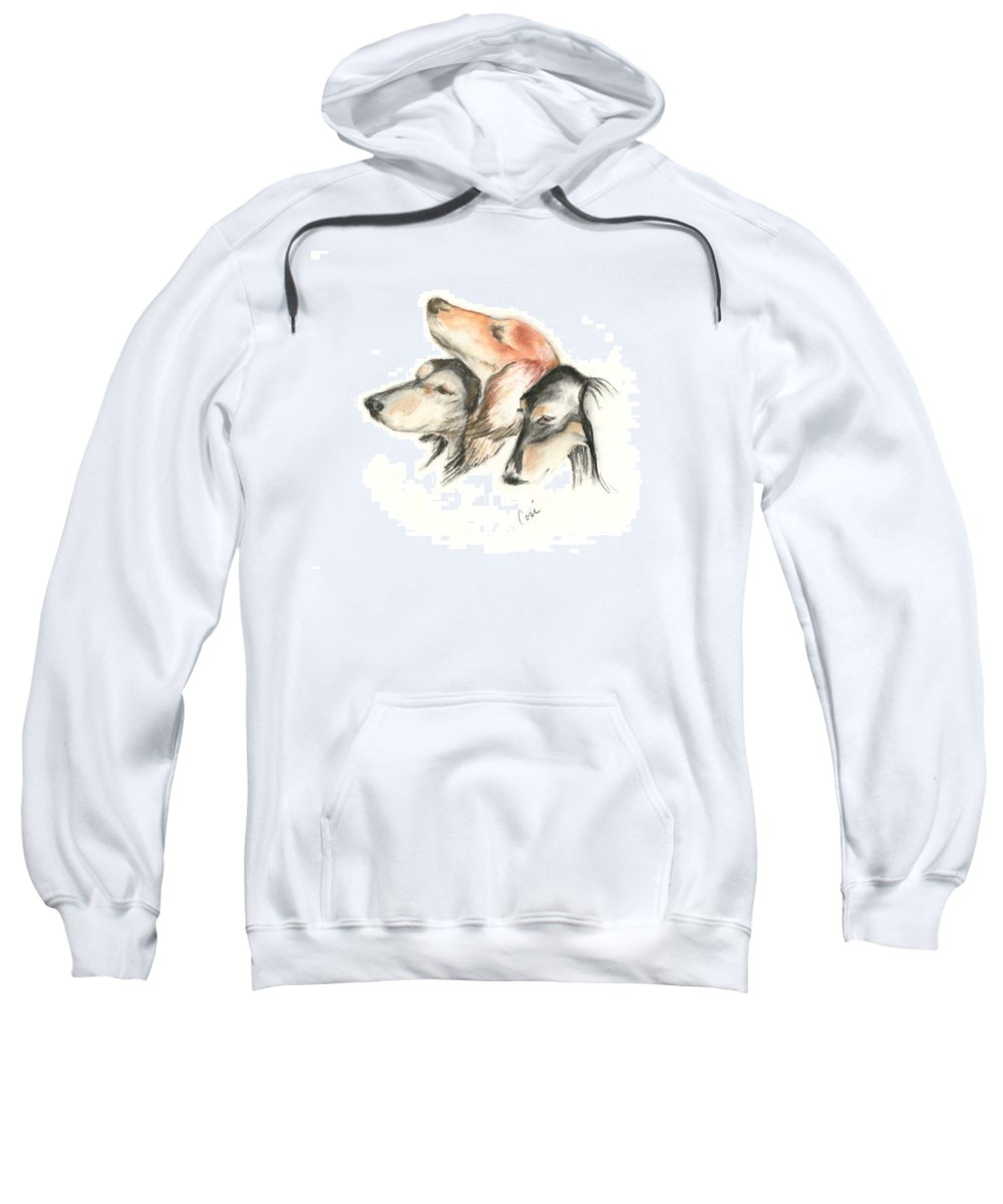 Dog Sweatshirt featuring the drawing Attitude by Cori Solomon