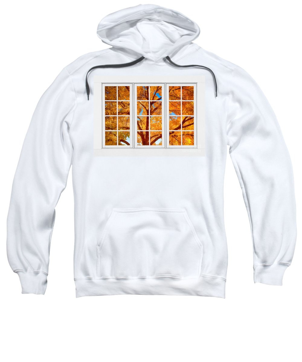 Views Through Windows Sweatshirt featuring the photograph Autumn Maple Tree View Through A White Picture Window Frame by James BO Insogna