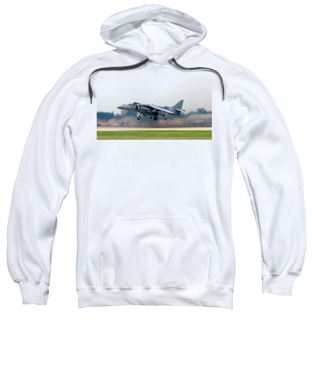 3scape Sweatshirt featuring the photograph Av-8b Harrier by Adam Romanowicz