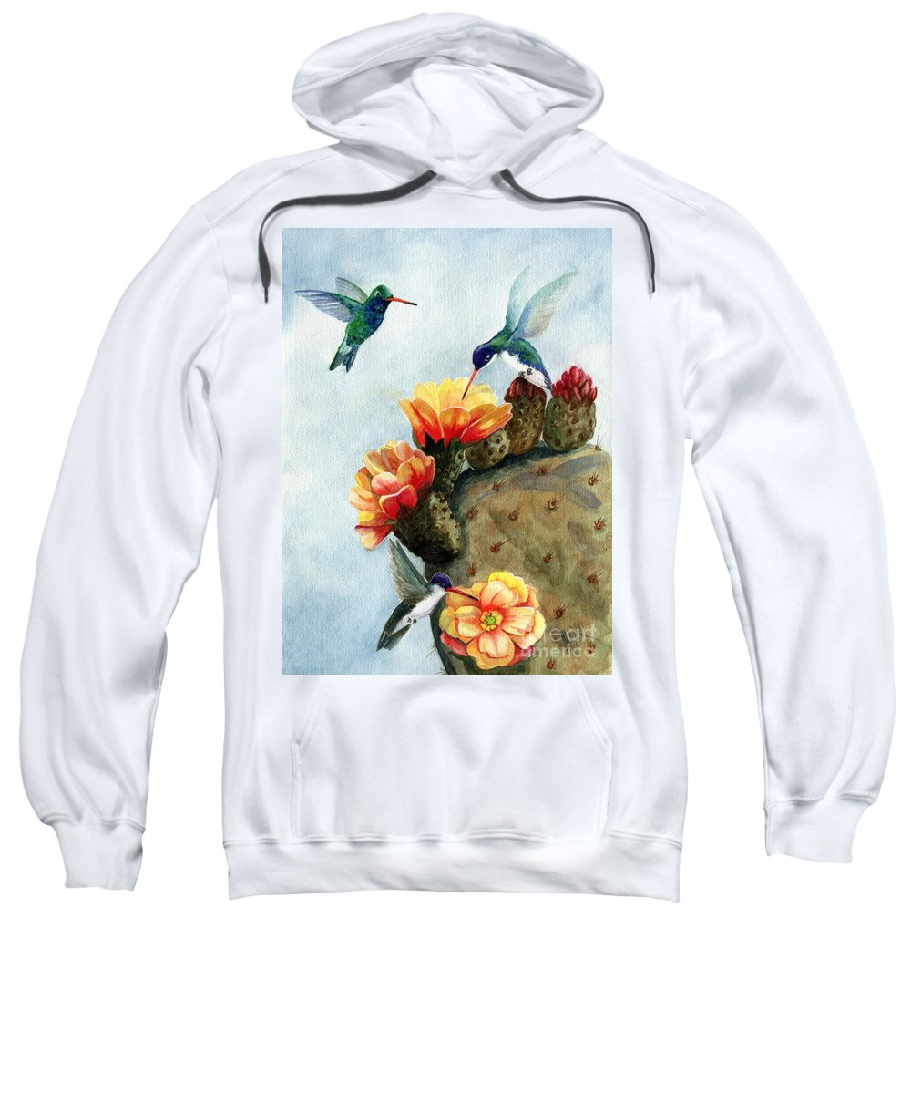 Hummingbirds Sweatshirt featuring the painting Baby Makes Three by Marilyn Smith