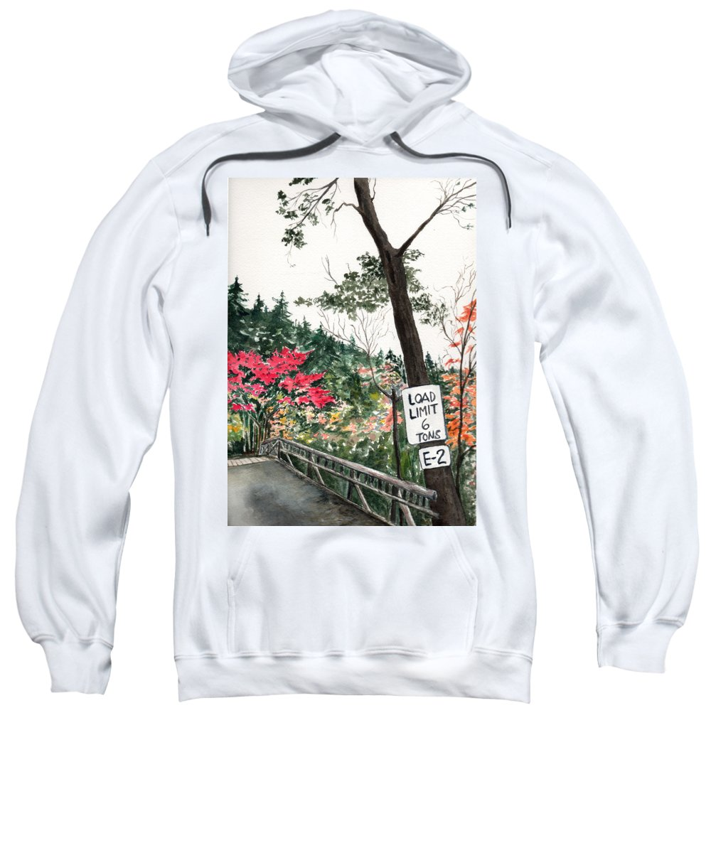 Watercolor Sweatshirt featuring the painting Backwoods Bridge by Brenda Owen