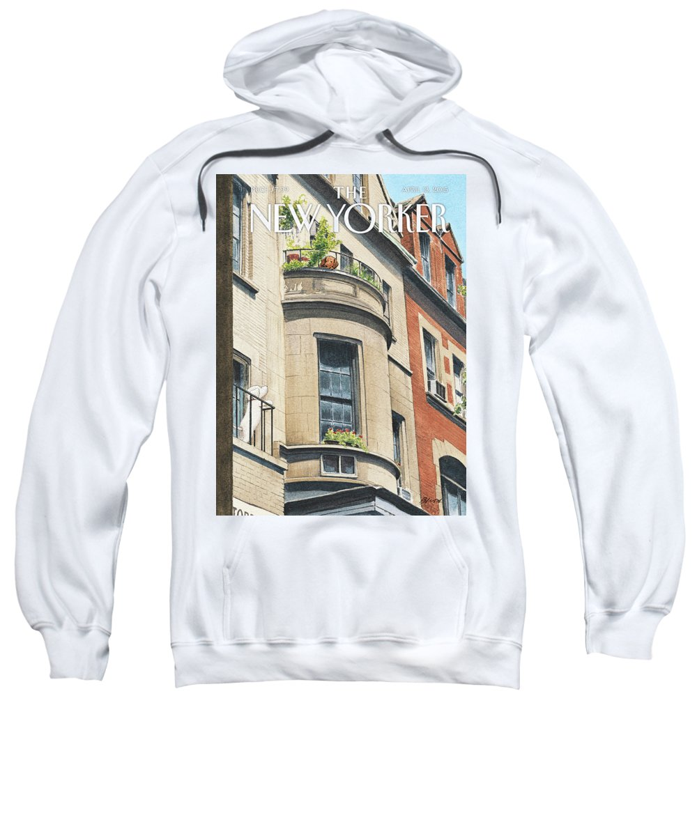 Dog Sweatshirt featuring the painting Balcony Scene by Harry Bliss
