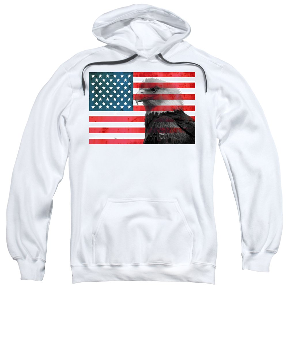 Bald Eagle American Flag Sweatshirt featuring the mixed media Bald Eagle American Flag by Dan Sproul