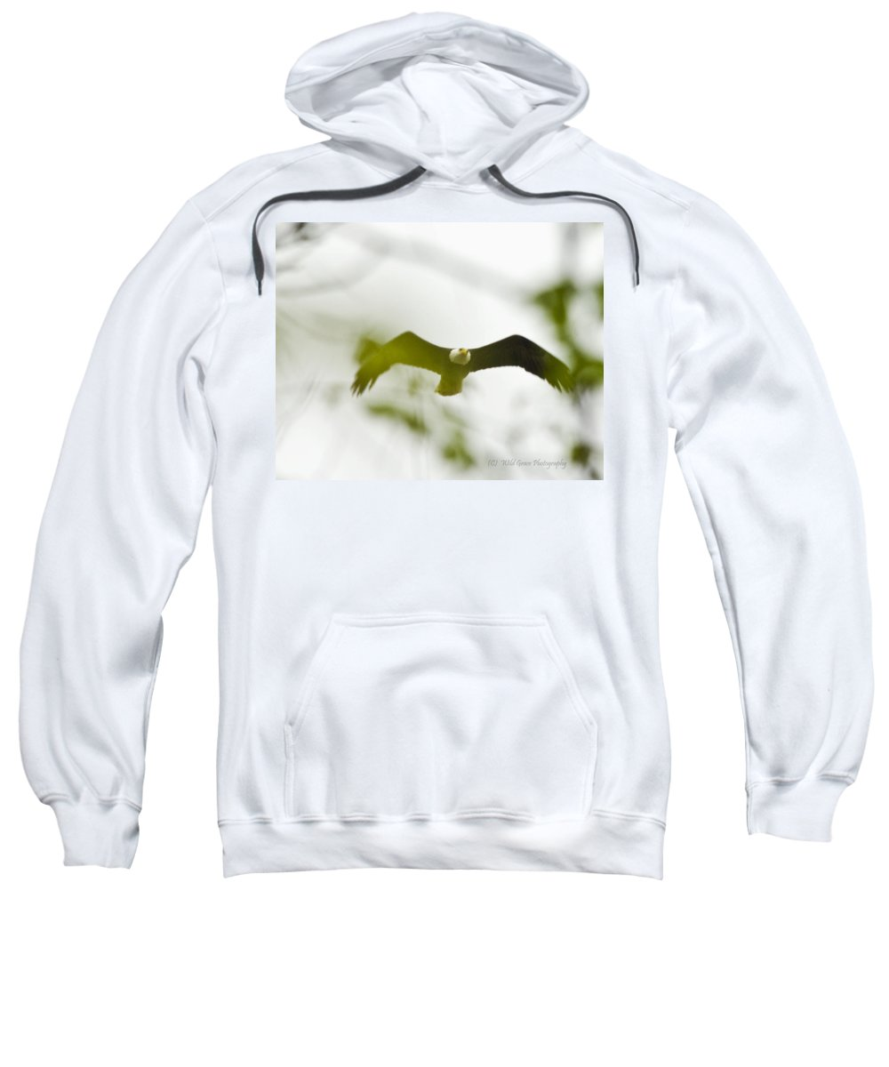 Bald Eagle Sweatshirt featuring the photograph Bald Eagle Flying To Perch by Crystal Heitzman Renskers