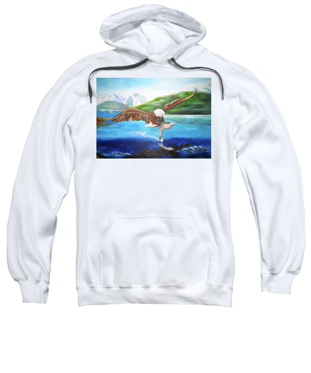 Eagle Sweatshirt featuring the painting Bald Eagle Having Dinner by Thomas J Herring