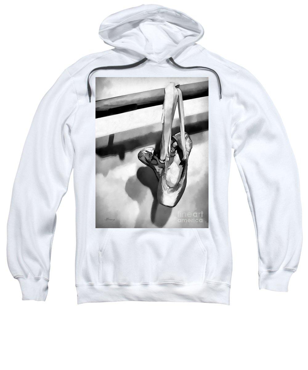 Black And White Sweatshirt featuring the digital art Ballerina Slippers-bw by Jennie Breeze